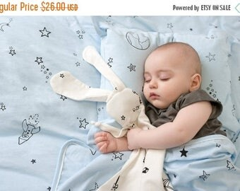 ON SALE White bunny-organic Security blanket- lovey blanket Made from organic cotton with stars print or origami ,baby gift, baby shower