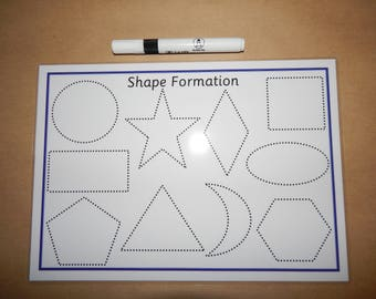 Tracing Shapes - 2D Shape Formation, Drawing shapes, A4 Laminated Reusable Mat, Pen control,  EYFS, SEN, Learning Resource