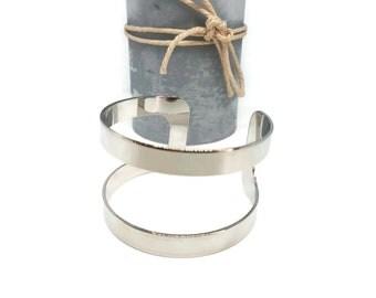 Silver plated adjustable cuff bracelet