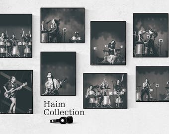 SALE PRICE! Haim photography prints at Glastonbury Festival, Music photos, Black and white concert photography, 25% discount, 20x16 inches