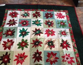 Christmas Poinsettia Lap Quilt