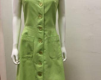 1960's PAT PREMO  lime green vintage dress