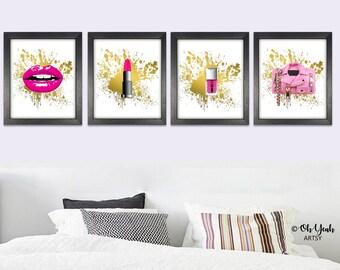 Pink Glam Beauty Digital Art Print Set of 4