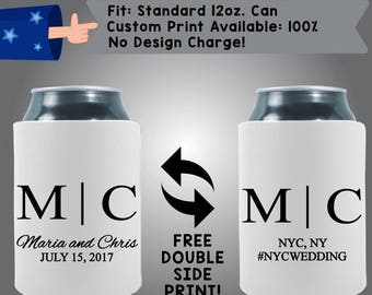 MC New Your Wedding Initials Names Neoprene Wedding Can Cooler Double Side Print (W338)