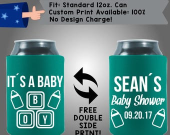 It's A BABY BOY Name's Baby Shower Date Gender Reveal Collapsible Fabric Baby Shower Can Cooler Double Side Print (BS109)