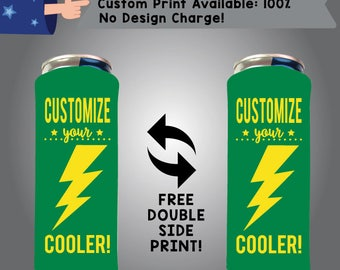 100% Custom 24 oz Large Can Cooler Double Side Print (24LC W-22) Tea Energy Can coolie
