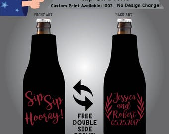Sip Sip Hooray Name and Name Date Slip On Bottle Double Side Print (SF-W3)