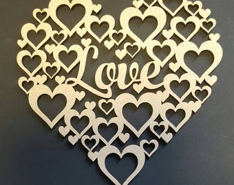 Hearts MDF quote craft shape weddings birthdays mothers day special occasions