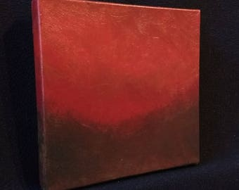Ambient Painting 2017 #14 (Hespernal) small red acrylic on canvas original abstract landscape non-objective