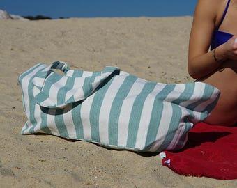 Lena green and white striped beach bag unique