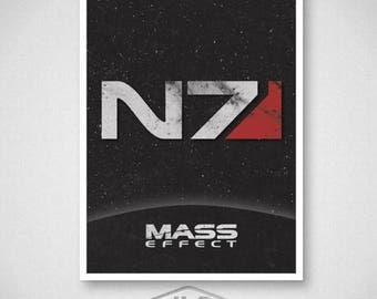 ON SALE Mass Effect Video Game Poster, N7 Print