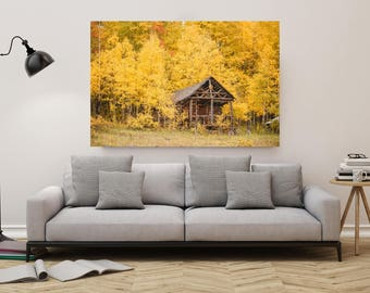 Colorado Art Ranger Cabin in Yellow Aspen Trees Fine Art Gallery Wrap Canvas Wall Art Inspirational Wall Art