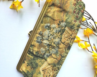 Vintage Green Tapestry Clutch Purse