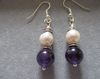 Zambien amethyst 4mm with poatoe pearls and Tibetian Silver spacers on a sterling silver hooks
