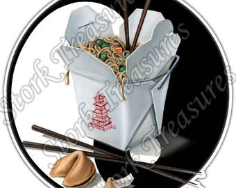 Chinese Fast Food Takeout Cookie Yin Yong Car Bumper Vinyl Sticker Decal