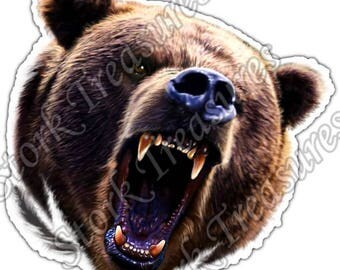 Grizzly Brown Bear Wild Animal Car Bumper Vinyl Sticker Decal