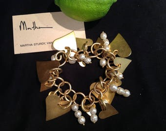 Martha Sturdy Vancouver Studio Bracelet Gold Hearts & Pearls