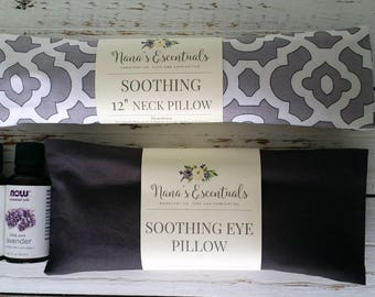 Cotton Neck Pillow and Eye Pillow - Lavender and Peppermint - Hot or Cold Compress - Aromatheraphy - Spa like - Yoga - Flax seed - Comfort