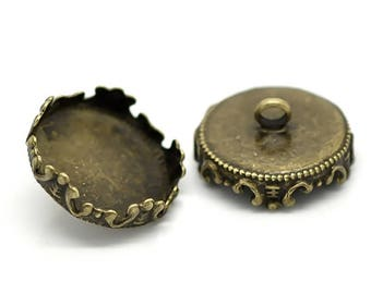 10 Filigree Button-mount for 13.5 mm cabochons, antique brass