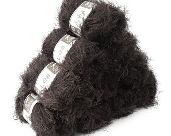 10 x 50 g effect yarn LEA with fringes, #110 Brown