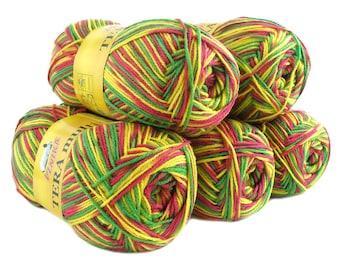 5 x 100 g yarn TERA MULTI, #810 pink green yellow