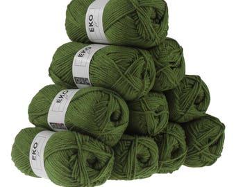 10 x 50 g knitting wool EKO FIL, #057 khaki