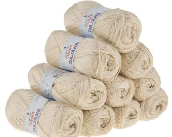 10 x 50 g knitting wool Dajana uni by VLNIKA, #454 beige