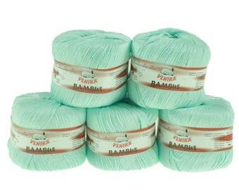 5 x 50 g Knitting yarn bamboo of by VLNIKA, #319 mint
