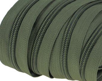 6m of endless zipper 5mm with 15 zippers and tails 327 olive