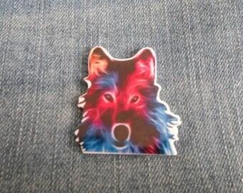 Handmade Multi Color Colour Wolf Pin Badge