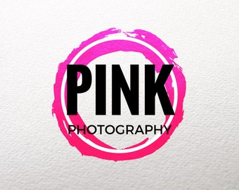 Premade Logo Design, Custom with Your Name and Tagline, Pink, Purple, Red, Creative Logo, Art, Design, Watercolor, Brush, Photography