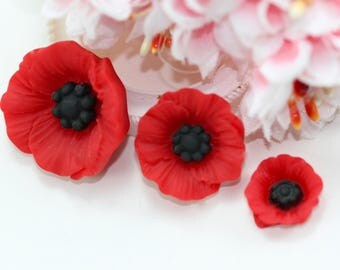 12pcs Red Poppy Flatback Resin in Mixed Sizes