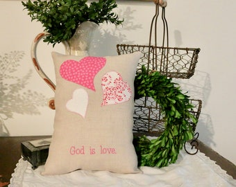 Appliquéd Linen Valentine Pillow-God is love.