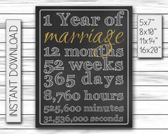 1st Anniversary Gift, Wedding Anniversary Gift, 1 Year of Marriage, Gift for Wife, Chalkboard Poster, Art Printable DIGITAL FILE Only, JPG