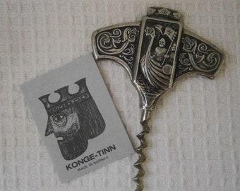 Konge tinn Vintage Viking Kurkentrekker, Royal Pewter, Noors Hardanger bestek,