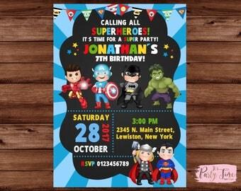 Superhero Invitation - Superhero birthday invitation - Superhero Invite - Superhero Birthday Invite - super hero invitation - Superhero