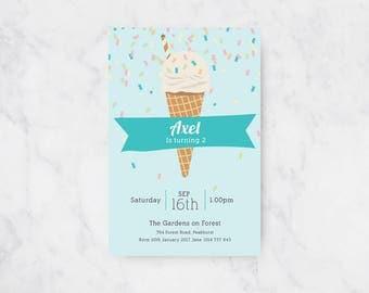 Confetti and Ice Cream Birthday Invitation | Boys Birthday | Printable Invitations