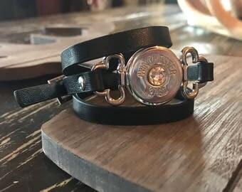 Black Leather Wrap Bullet Bracelet