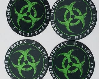 Zombie Outbreak Respone Unit Fabric Round Coaster Individual/Set
