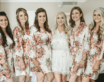 1-Floral Bridesmaid Robes-White Floral Kimona Bridesmaid Robe