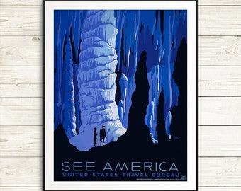 USA travel posters, US national parks posters, vintage US travel posters, antique travel poster reproductions, huge blue wall art prints