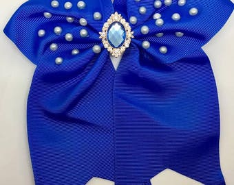 Blue - Large: 18cm Hair Bow Clip