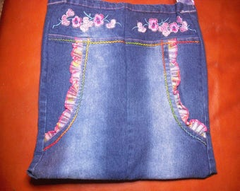 Blue Denim faded, fully lined, flowers and colorful lace bag