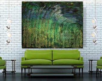 Abstract Painting Modern Wall Art, Green Saxe Blue Yellow Original Abstract Art.