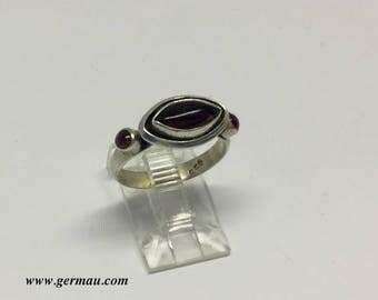 sterling silver garnet ring #83