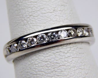 14k white gold .40 Ctw diamond band ring #579
