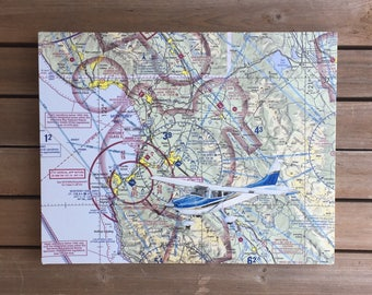 Cessna Pilot Gift, Aeronautical Charts, Sectional Chart, Air Force Retirement, Air Force Christmas, Pilot Christmas Gift, Airplane Painting