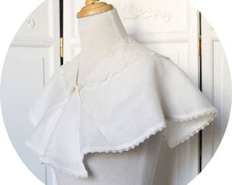 Ivory Cape in pure linen and old lace, embroidery, Cape wedding, sweet Cape