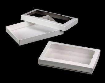 """9 1/2"""" x 6"""" x 1 1/4"""" White/White Two Piece Simplex Box Set, with Window"""