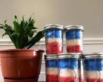 Red White & Blue Mason Jar Candles